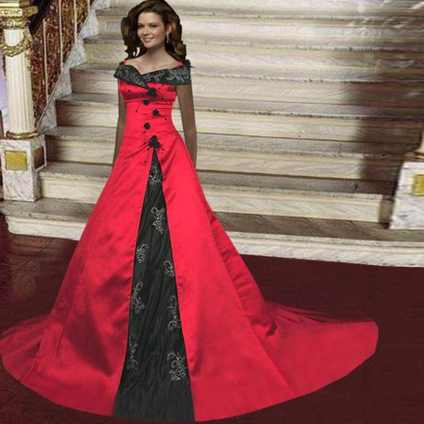 pas cher vintage 2016 noir et rouge broderie gothique robe de mariage cour train robes de. Black Bedroom Furniture Sets. Home Design Ideas
