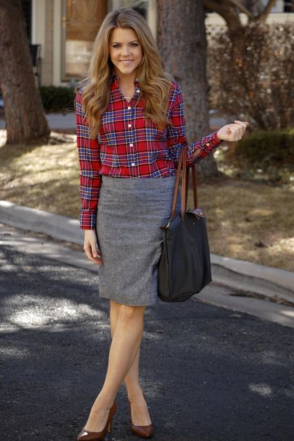 plaid and grey pencil skirt work outfit - Plaid And Grey Pencil Skirt Work Outfit What To Wear To Work