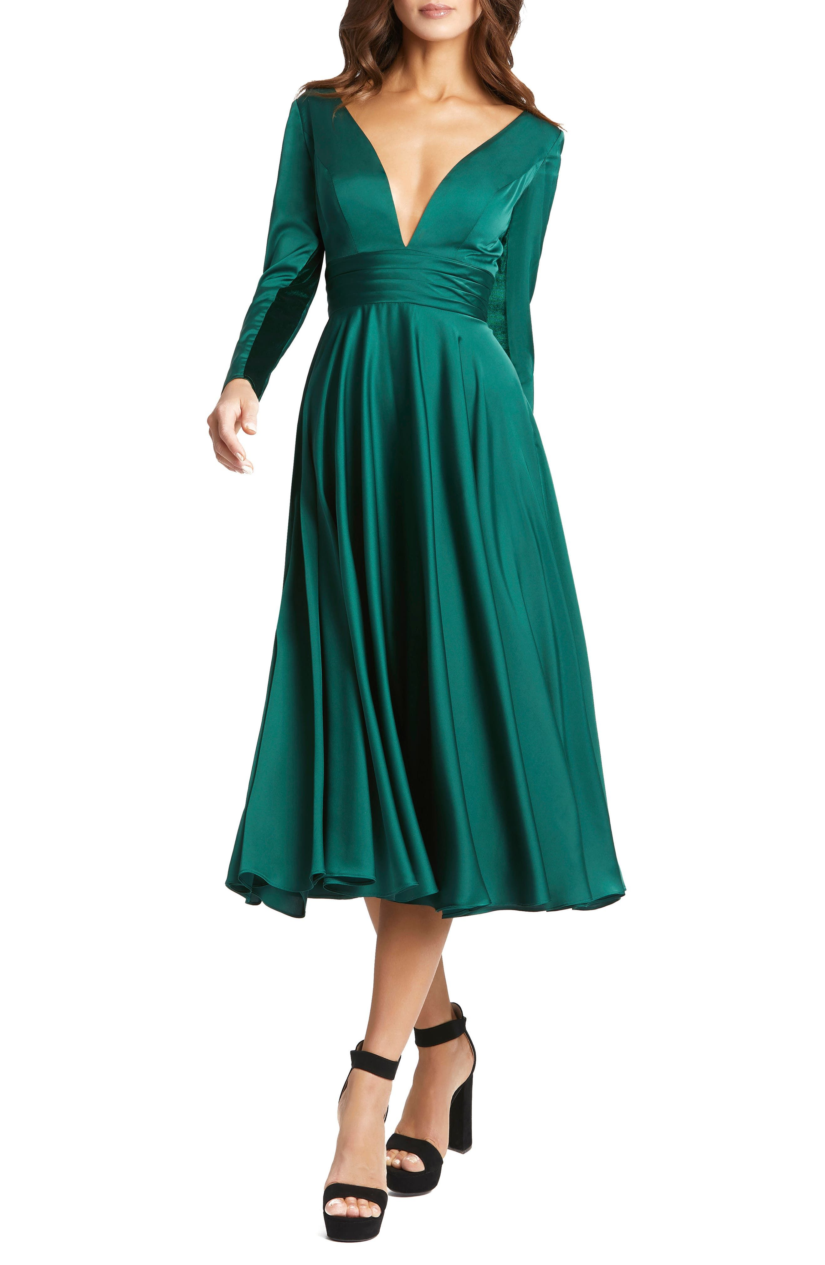 Mac Duggal Long Sleeve Plunge Neck Cocktail Midi Dress Nordstrom In 2021 Midi Cocktail Dress Cocktail Dresses With Sleeves Satin Midi Dress [ 4042 x 2636 Pixel ]