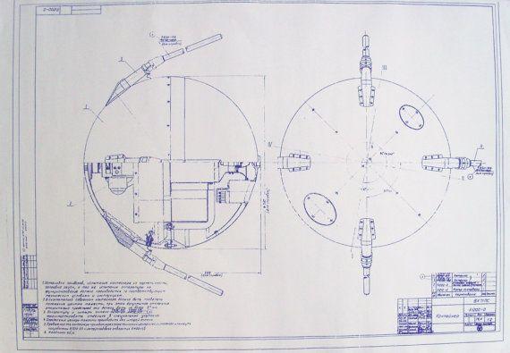 Soviet Union Sputnik Satellite Blueprint By Blueprintplace On Etsy
