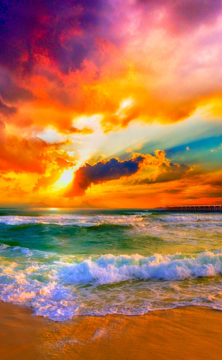 red orange purple beautiful beach sunset for Pinterest. I ...