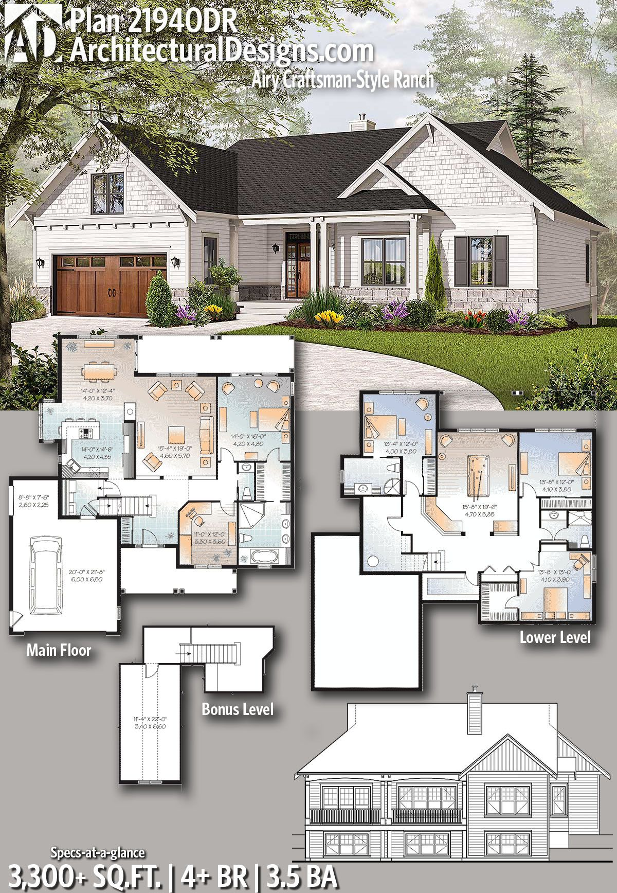 Architectural designs house plan dr gives you beds baths and over sq ft of heated living space plus  bonus room the garage also airy craftsman style ranch plans good rh pinterest