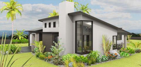 fachadas de casas con techos en desnivel arquitectura