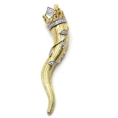 14k Gold Italian Horn Crown Diamond Pendant