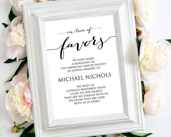 In Lieu of Favors' Sign Template: Instantly download, edit