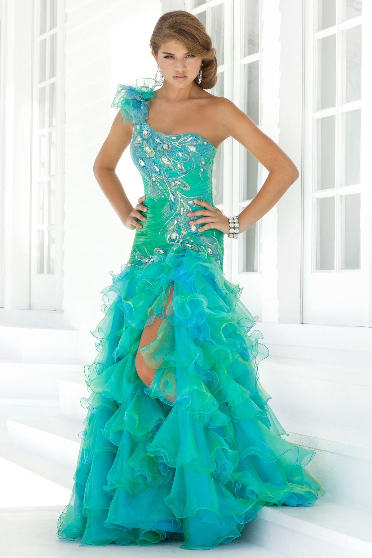 Sexy2013 Peacock Mermaid Party Prom Dress Organza Pageant Evening ...