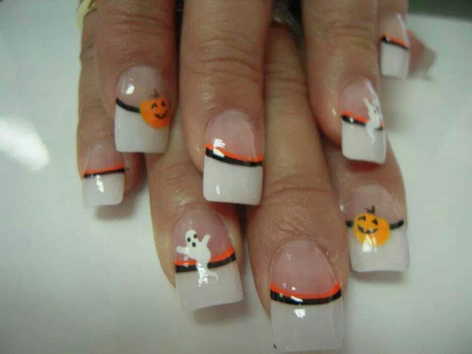 White tip pumpkin Halloween acrylic nails | nail designs ...