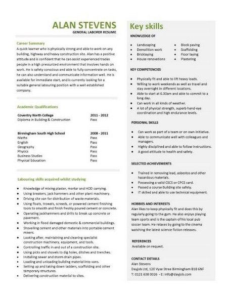 General Labor Resume Samples - http\/\/topresumeinfo\/general-labor - general labor resume examples