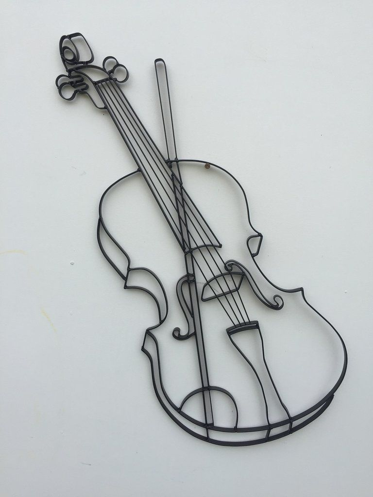Violin Fiddle Metal Wall Decor And Sculpture Decor Fiddle Metal Sculpture Violin Wall Outdoor Metal Wall Art Steel Wall Art Wall Sculpture Art