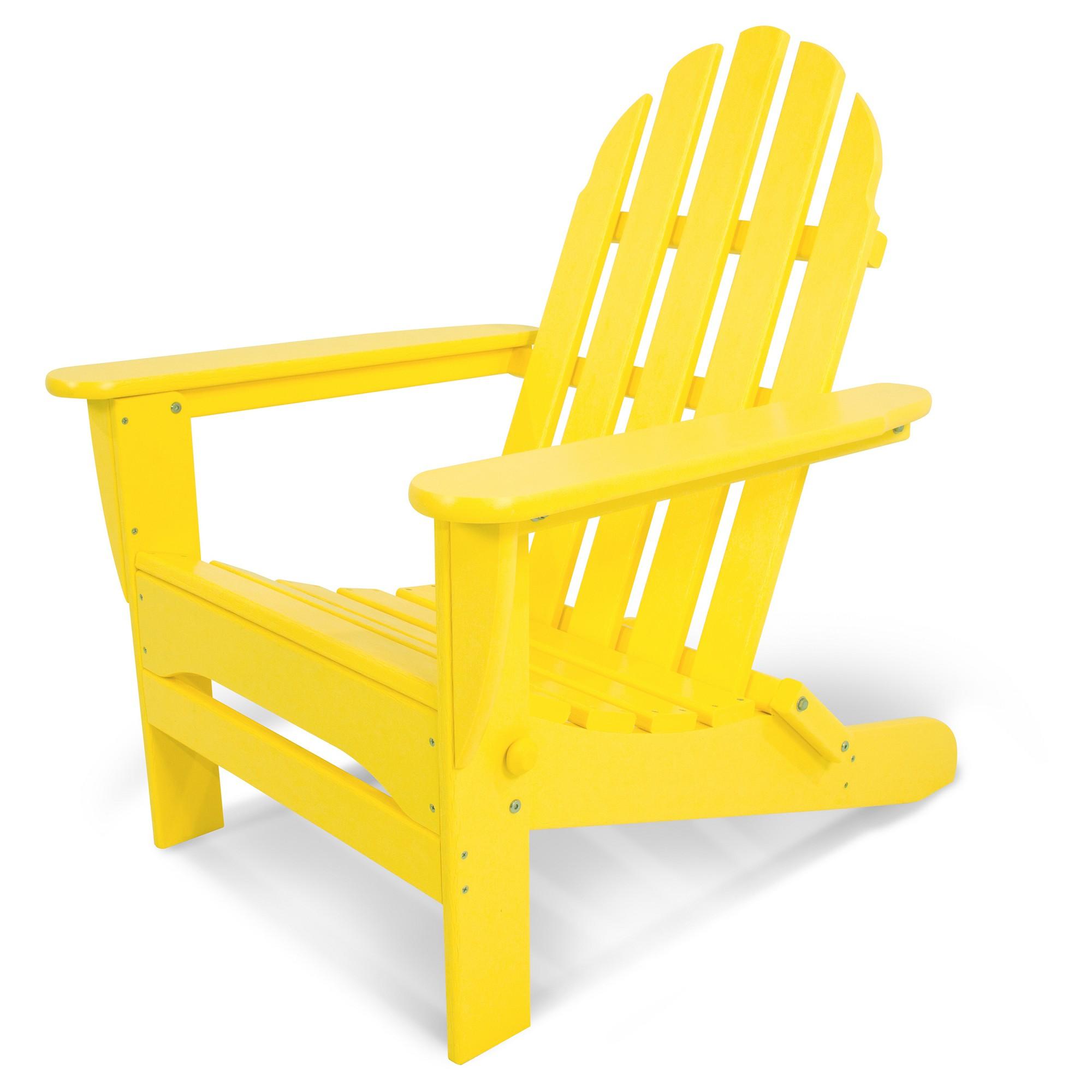 Polywood Classic Folding Patio Adirondack Chair Yellow