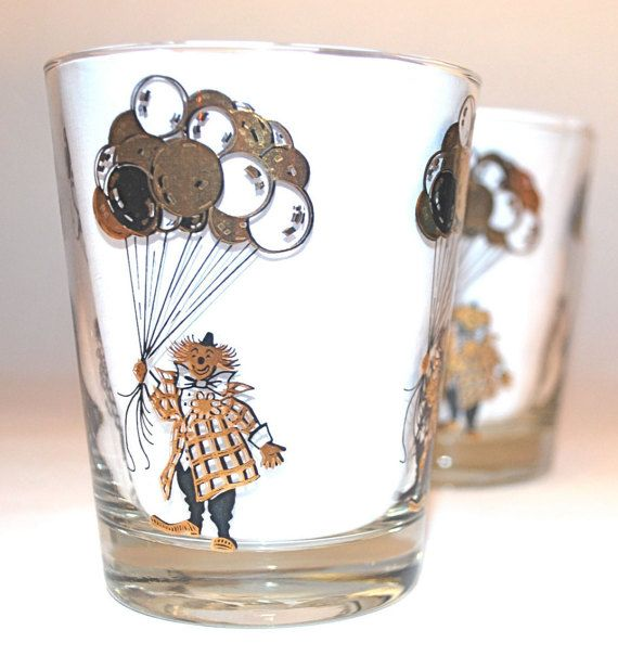 Set of Two Rare Clown Double Old Fashioned by GyreAndGimbleMaine