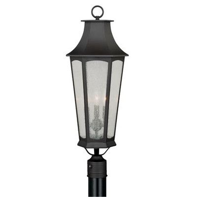 Darby Home Co Wilberforce Outdoor 3 Light Lantern Head Outdoor Post Lights Lamp Post Lights Traditional Post Lights
