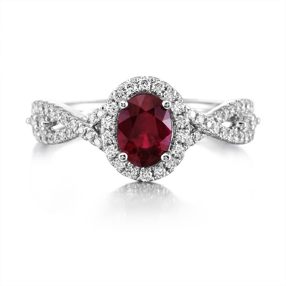 18k White Gold 1 17 Carats Mozambique Ruby With Diamond Ring Rrznov0519117qi Beautiful Rings Birthstones Jewelry
