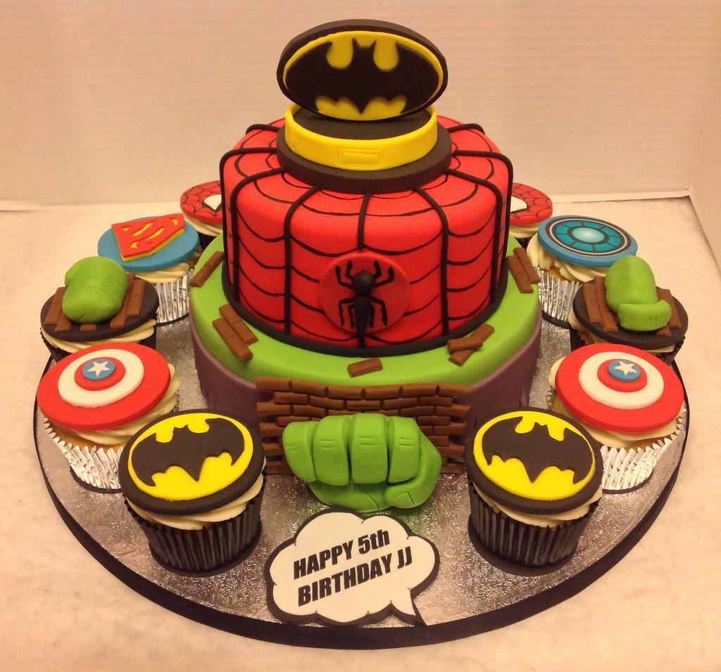 Superhero Birthday Cake Cupcakes Superhero birthday cake