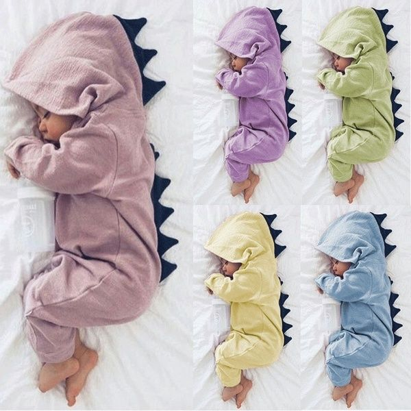 Newborn Infant Baby Cute Dinosaur Outfit Hooded Romper Bodysuit Soft Jumpsuit UK