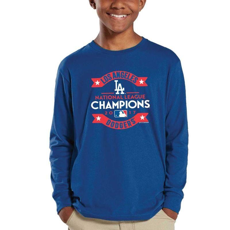 #Fanatics.com - #Soft as a Grape Los Angeles Dodgers Soft as a Grape Youth 2017 National League Champions Long Sleeve T-Shirt - Royal - AdoreWe.com