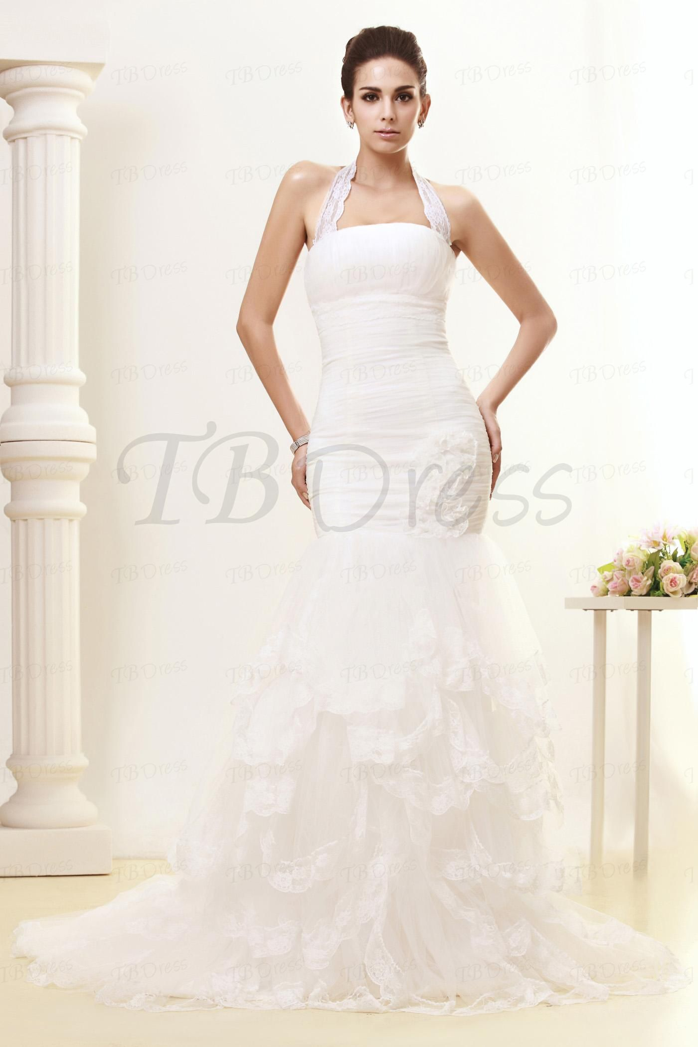 Classic Trumpet/Mermaid Halter Strapless Court Train Lace Taline's Wedding Dress