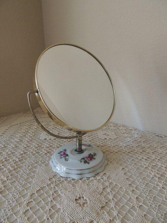 Eight Inch Swivel Two Way Mirror Porcelain Floral Base Simple Elegant - Fresh Pedestal Mirror Simple