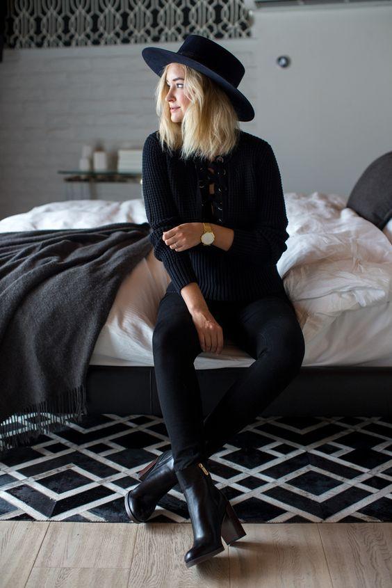 Ideas de outfits completamente negros para que no te veas igual todos los días