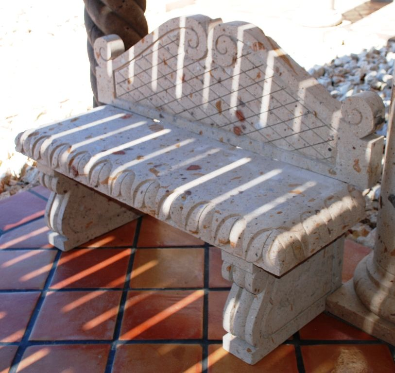 Custom Cantera Stone Bench For An Outside Patio