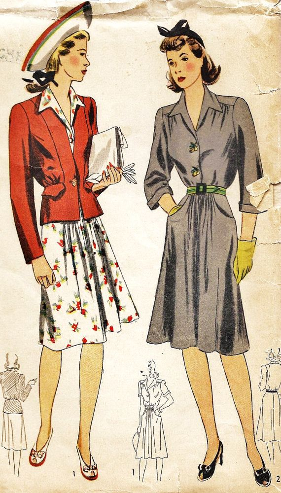 1940s Misses Dress and Jacket Vintage Sewing by MissBettysAttic