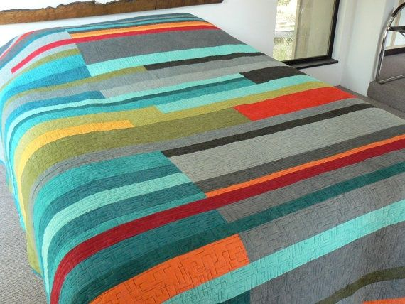 MidCentury Modern Queen Quilt Made to order by quiltsbydesign ... : modern quilt design - Adamdwight.com
