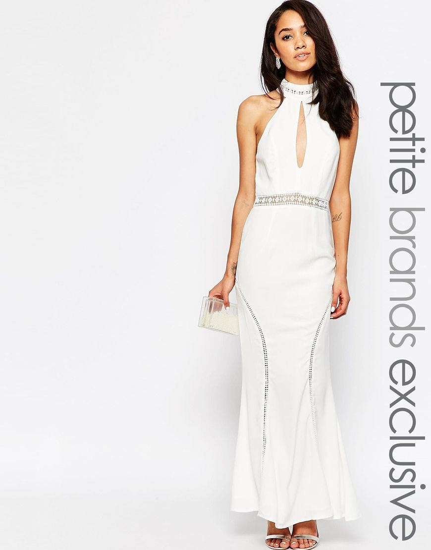 Image 1 ofJarlo Petite Halter Neck Maxi Dress With Front Keyhole Detail