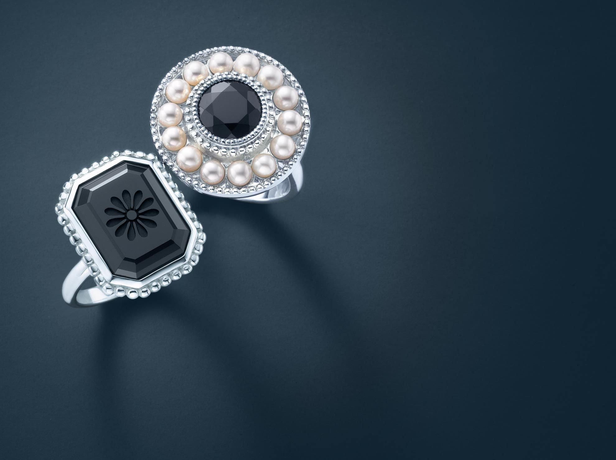 Ziegfeld Collection Pearl Ring In Sterling Silver And Black Onyx