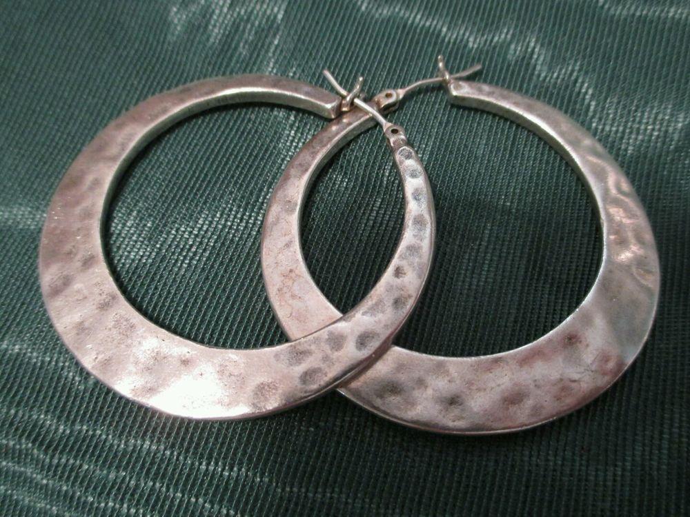 3752c56cc Vintage Sterling Silver Hoop Earrings large Hammered pierced chunky jewelry  big #Hoop #SterlingSilverHoops
