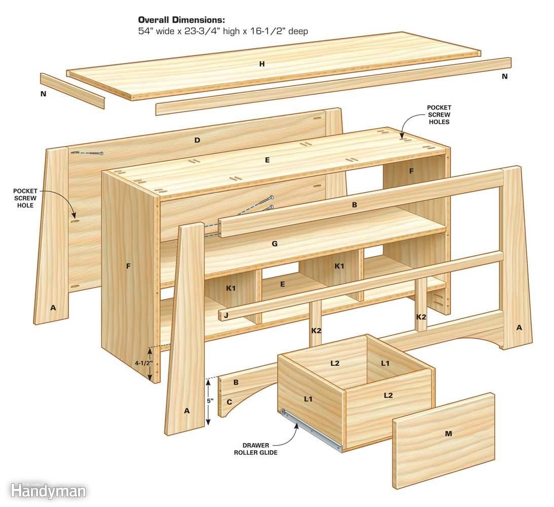 Free Woodworking Plans Wood Tv Stand 5 Jpg 1093 1000 Diy  # Meuble Tv Treteaux