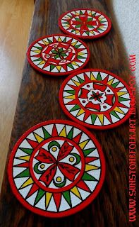 Northern Russia folk art painting  Puchuz style  Cork coasters