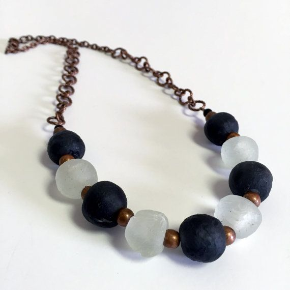 Frosty White and Black Recycled Glass Bead by RisingVillage