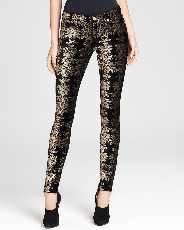 7 For All Mankind Jeans - Brocade Foil Print Velvet Skinny ...