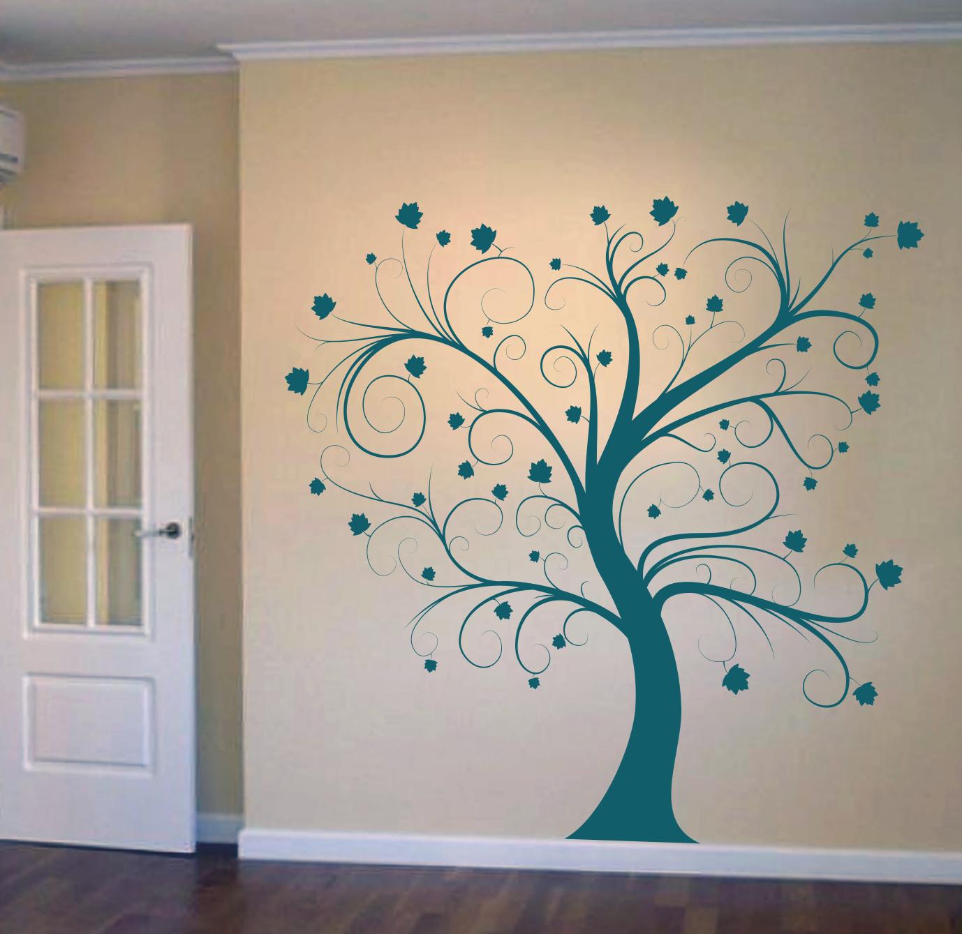 Vinilo rbol rizado decoracion de pared vinilos - Arboles decorativos ...