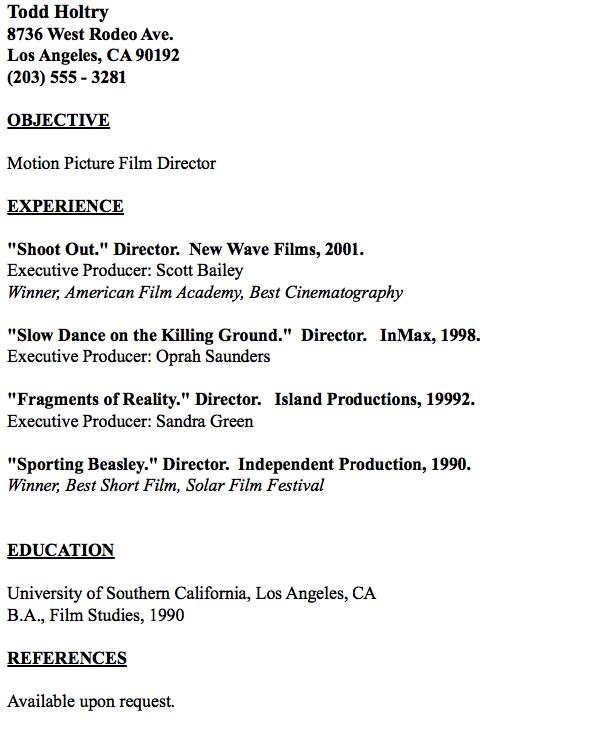 Example Of Film Editor Resume Resumesdesign Cover Letter For Resume Resume Resume Template Examples