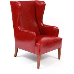 Nice (example Of Style Of Chair) Illums Bolighus Leather Wingback Chair And  Ottoman Red Modern