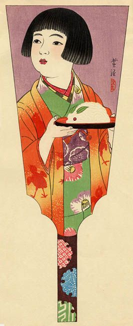 hanga gallery . . . torii gallery: Battledore Print: Girl Holding a Snow Rabbit by Shiro Kasamatsu