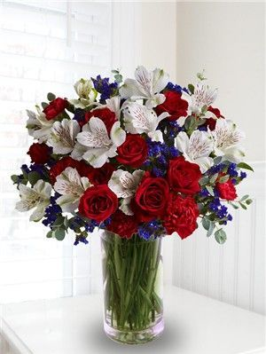 Flower Arrangements Red And Blue Google Search