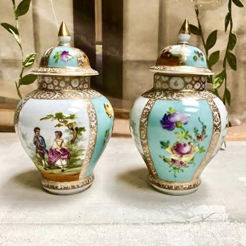 Antique Dresden 19th Cent. Porcelain Pair Lidded Urns
