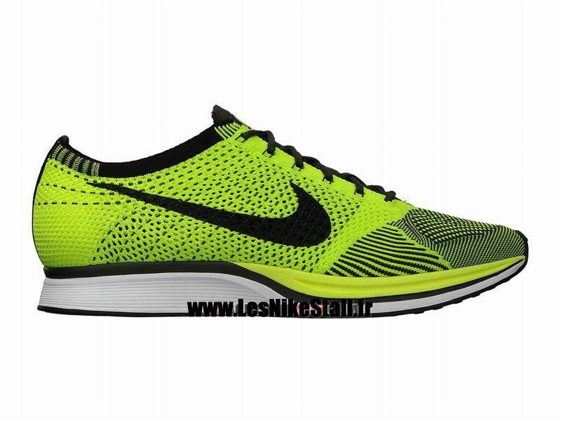brand new 6da28 b8ab2 Officiel Nike Flyknit Racer Chaussure de Running Nike Mixte Pas Cher Pour  Homme Noir Vert 526628-721