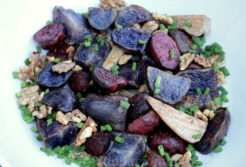 roasted beet and blue potato salad recipe - this would be perfect for fall