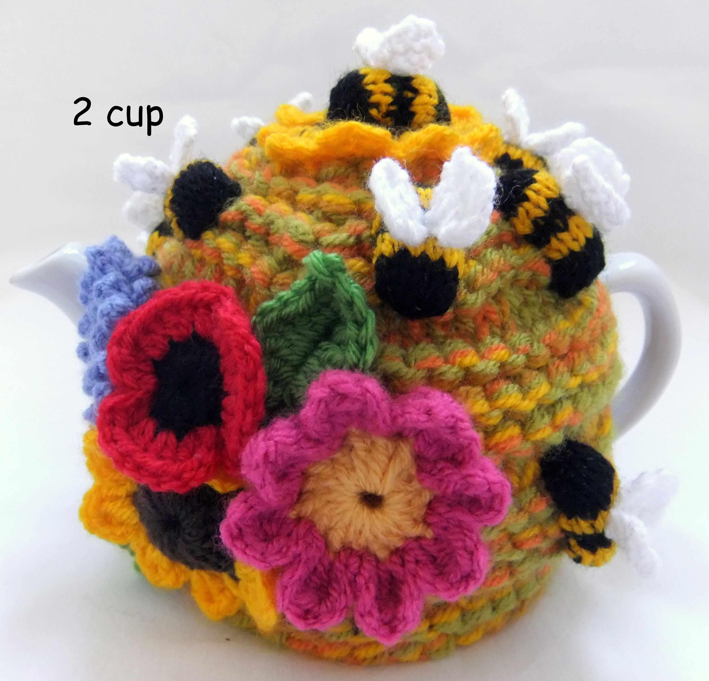 Hand Knitted /Crochet - Bee Hive - 2 cup floral tea cosy ...