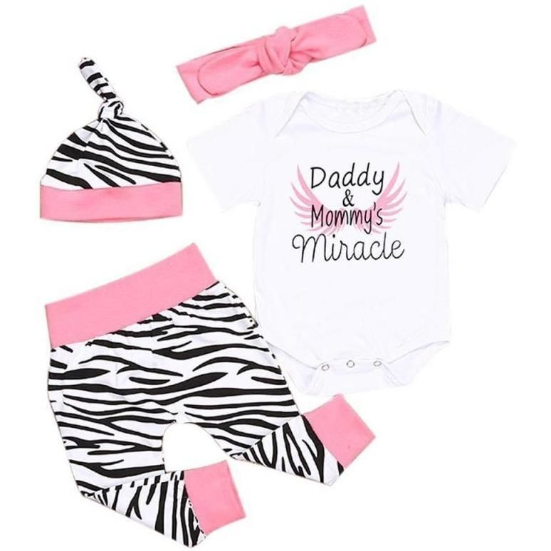 32021afd6 Daddy & Mommy's Miracle Bodysuit, Zebra Pant,Hat and Headband Set ...