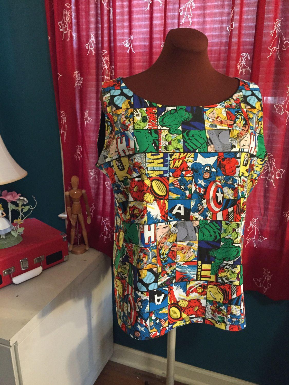 Women's Avengers Shell - Tank Top - Sleeveless blouse by foureyedgirl on Etsy