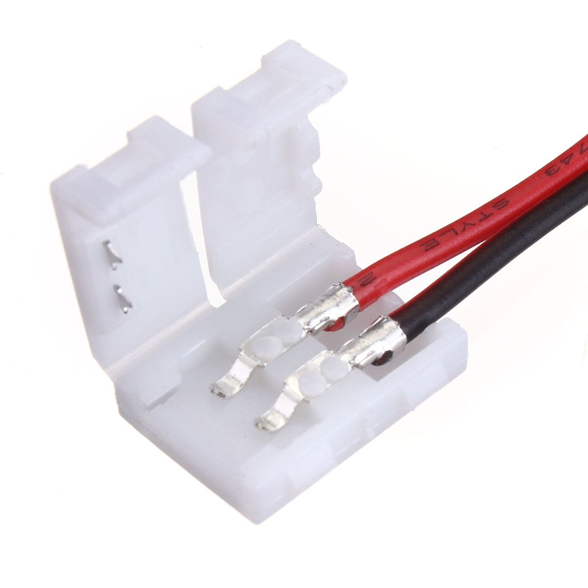 5x10mm 5050 Led Light Strip To Wire Connector Pcb Adapter 2pin White Extension Cable Cord For 3528 Rgb Ebay
