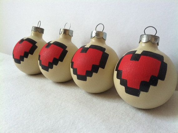 Legend of Zelda Hearts Painted Ornament Set of 4 by GingerPots