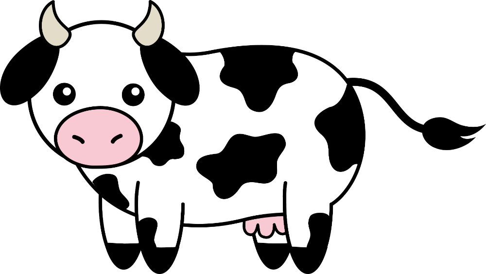Cute Black White Cow Clipart Png And Cliparts For Free Download Hddfhm Kartun Hewan Sketsa
