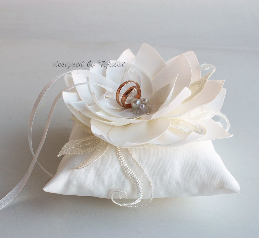 Ivory  Wedding ring pillow with ivorybrownpink curly flower and embroidering---ring bearer pillow wedding rings pillow wedding pillow