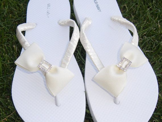 10f34f3624377 Ivory Bridal flip flops-bridesmaid gifts mother of the bride to be ...