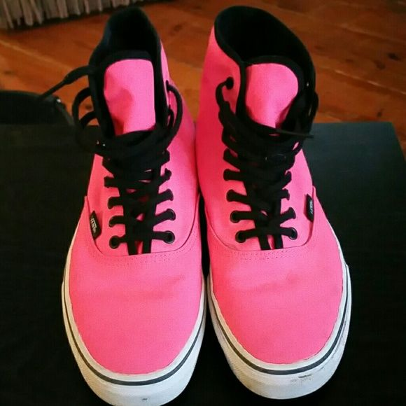 d3534d814d0 Pink High Top Vans Hardly worn pink high-top Vans . Ladies sz 9   men s size  7.5. Great shoes just don t think they look great on me !